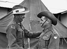 Two smiling men in military uniform shaking hands.