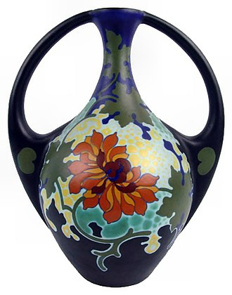 "Gouda (pottery) - A vase in the ""Chryso"" pattern, circa 1925, manufactured by Kunstaardewerkfabriek Regina of Gouda, Holland."