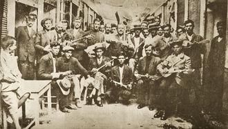 Photo of Rebetes in Karaiskaki, Piraeus (1933)