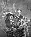 Rembrandt, portrayed perhaps as the prodigal son, stands wit Wellcome L0011075.jpg