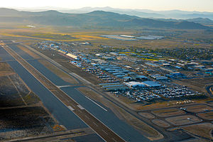Reno Air Races - Aerial view of Reno Stead Airport, looking due south, during Reno Air Races, early morning, September 12, 2014