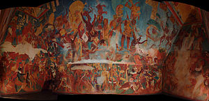 Maya warfare - The discovery of the Bonampak murals, representing war scenes, contradicted ancient pacifist theories that idealized ancient Maya (reproduction exhibited at Museo Nacional de Antropología, Mexico City).