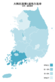 Republic of Korea local election 2014 turnout (metropolitan city or province) zh-hans.png