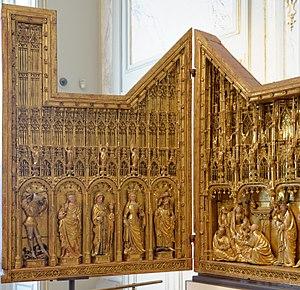 Jacques de Baerze - Image: Retable de la crucifixion volet gauche Jacques de Baerze MBA Dijon