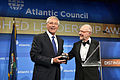 Retired Air Force Lt. Gen. Brent Snowcroft, chairman of the Atlantic Council's International Advisory Board, presents Defense Secretary Chuck Hagel, left, with the council's Distinguished International Leadersh 140430-D-NI589-621a.jpg