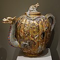 Ribbed Teapot, Japan, decorated by Kato Keizan, undated, earthenware with overglaze, gold, and raised white enamel - Chazen Museum of Art - DSC02406.JPG