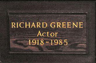 Richard Greene - Memorial plaque in St Paul's, Covent Garden