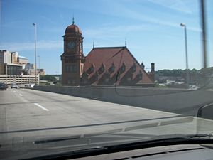 James River Bridge (Interstate 95) - Main Street Station as seen from the northbound James River Bridge.
