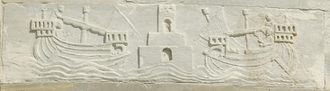 Battle of Meloria (1284) - Bas-relief on the Tower of Pisa depicting Porto Pisano