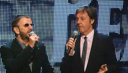 Starr and McCartney promoting The Beatles: Rock Band in 2009 Ringo Starr e Paul Mcartney - E3 2009.jpg