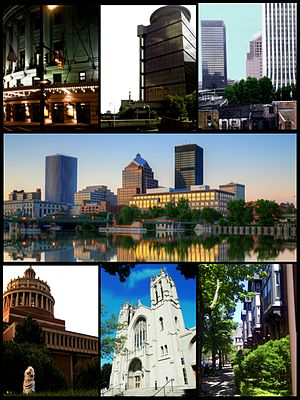(Clockwise frae tap left) the Eastman Theater, First Federal Plaza, Corporate heich-rises in Dountoun Rochester, eastren hauf o the ceety skyline on the Genessee river, Grove Place neighborhuid, Sacred Hert Cathedral, Rush Rhees Library at the Varsity o Rochester