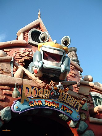 Roger Rabbit - Roger, with Benny the Cab, on the marquee of Roger Rabbit's Car Toon Spin at Disneyland California.