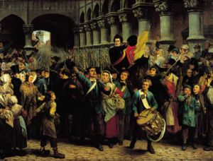 Belgian Revolution - Charles Rogier leads the 250 revolutionary volunteers from Liège to Brussels (Charles Soubre, 1878)