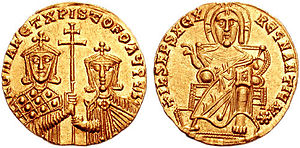 Romanos I Lekapenos - Gold solidus of Romanos I with his eldest son, Christopher Lekapenos