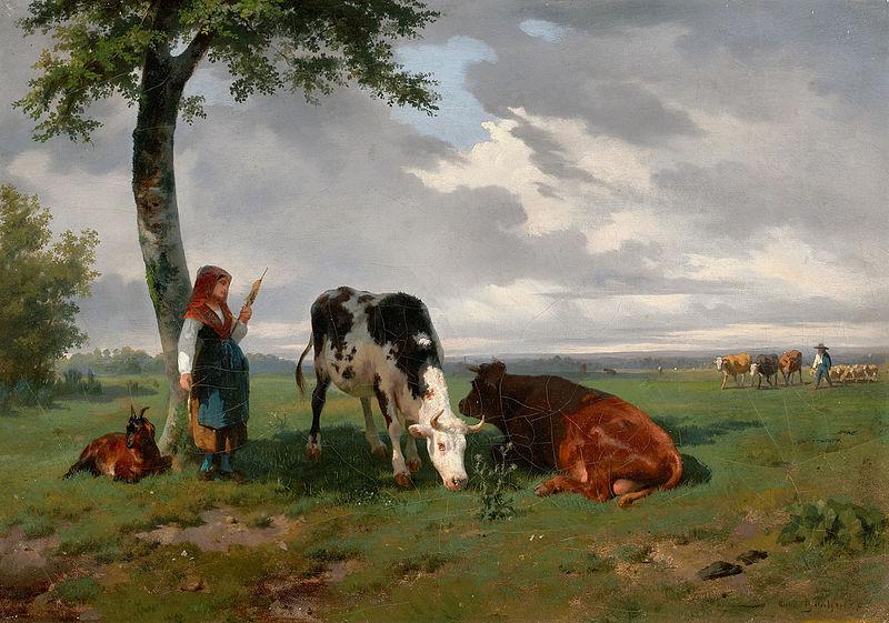 File:Rosa Bonheur - Une bergère avec une chèvre et deux vaches dans un pré.jpg