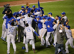 2015 Kansas City Royals season - The Royals celebrate at Citi Field in Queens, New York City, New York after winning the 2015 World Series, in which they defeated the New York Mets four games to one.