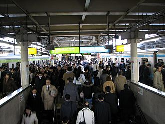 Keihin-Tōhoku Line - Morning peak on the Keihin-Tohoku and Yamanote lines at Ueno Station