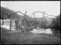 Rustic bridge at Ross Reservoir, Dunedin. ATLIB 294399.png