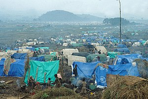 Rape during the Rwandan Genocide - Refugee camp for Rwandans in Kimbumba, eastern Zaire (current Democratic Republic of the Congo), following the Rwandan genocide.
