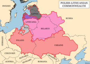Outline of the Polish-Lithuanian Commonwealth with its major subdivisions as of 1619, superimposed on present-day national borders      Kingdom of Poland      Duchy of Prussia, Polish fief      Grand Duchy of Lithuania      Duchy of Courland, joint fief      Livonia