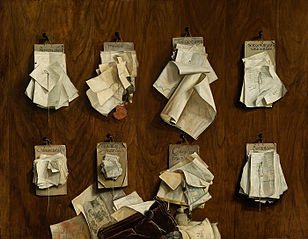 Documents on a wall