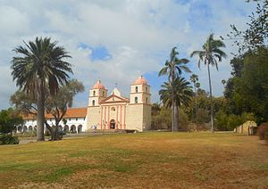 Santa Barbara County, California - Mission Santa Barbara from Mission Park, Santa Barbara