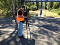 SES Media filming the flooding at Wagga Beach caravan park.jpg