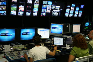 SKY Sport24 news channel production control room.