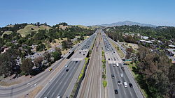 SR 24 near Lafayette with BART track and Mt Diablo in the background.JPG