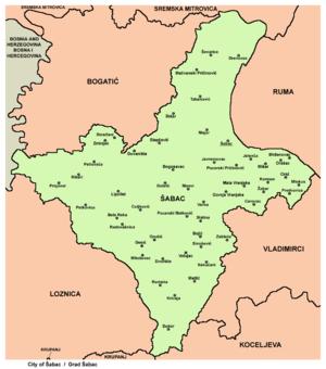 sabac mapa srbije Opština Šabac   Wikipedia sabac mapa srbije
