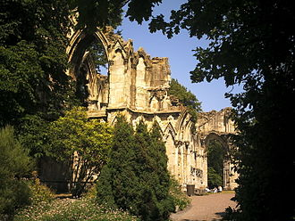 St Mary's Abbey, York - Ruins of the abbey church from the southern end