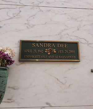 Sandra Dee - Grave of Sandra Dee, at Forest Lawn Hollywood Hills