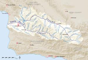 Santa Maria River (California) - Image: Santa maria river map