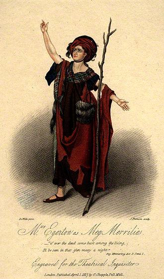 Guy Mannering - Engraving of Sarah Egerton as Meg Merrilies in Guy Mannering (1817)