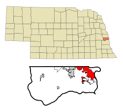 Sarpy County Nebraska Incorporated and Unincorporated areas Bellevue Highlighted.svg