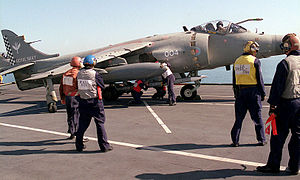 Sea Harrier on HMS Illustrious (R06) in Persian Gulf 1998.JPEG
