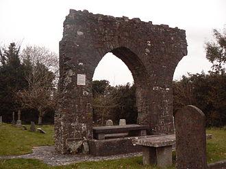 Dunshaughlin - Remains of the monastic site of Saint Seachnall. Domhnach Seachnaill, Seachnall's Church, is the name in ecclesiastical sources for the town in Irish, while Dún Seachlainn appears in secular sources.