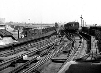 Elevated railway - Liverpool Overhead Railway, May 1951.