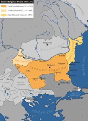 Ivan Sratsimir of Bulgaria - The Second Bulgarian Empire after the death of Ivan Alexander. Ivan Sratsimir controlled Vidin to the north-west, his brother Ivan Shishman the central regions and despot Dobrotitsa controlled the coast to the east.