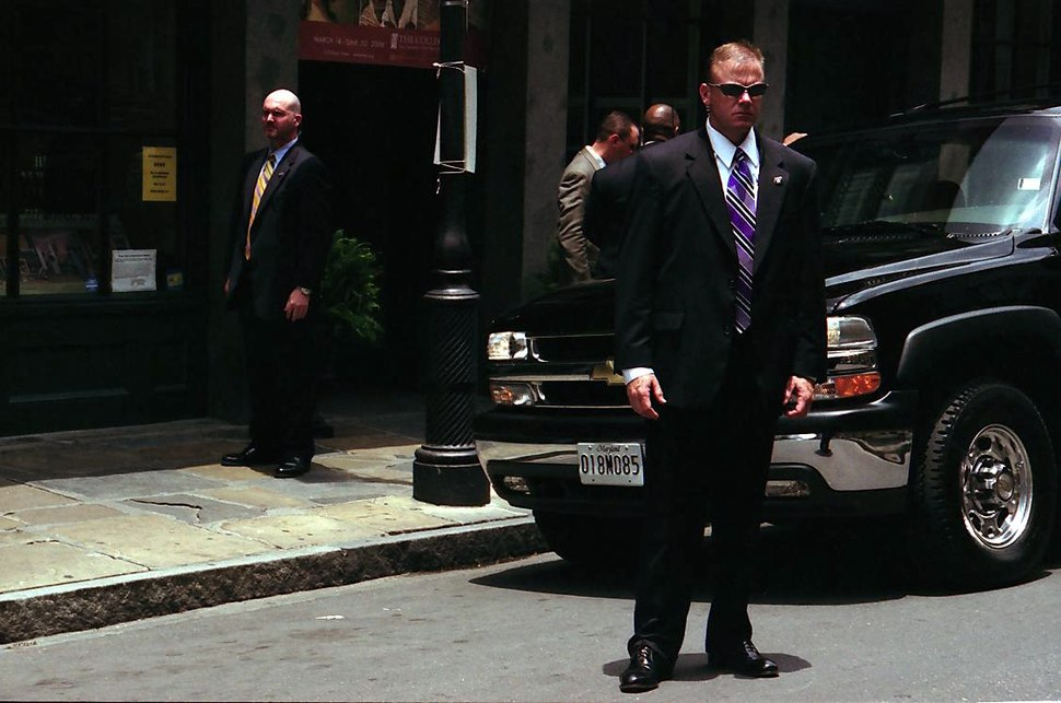 Secret Service agents stand guard