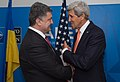 Secretary Kerry Holds Bilateral Meeting With Ukrainian President Poroshenko at NATO Summit in Wales (15138223502).jpg