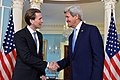 Secretary Kerry Shakes Hands With Austrian Foreign Minister Kurz After the Counterparts Addressed Reporters in Washington (26168019191).jpg