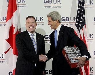 John Baird (Canadian politician) - John Baird with Clinton's successor as U.S. Secretary of State John Kerry in London, United Kingdom, April 11, 2013