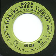 Muzak vinyl record, with light-green label and large hole