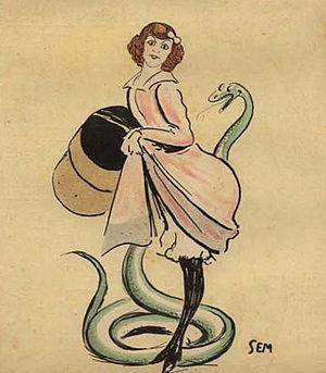 Ève Lavallière - Caricature by Georges Goursat Sem (1902).
