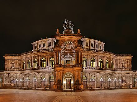 The Semperoper, completely rebuilt and reopened in 1985 Semperoper at night.jpg