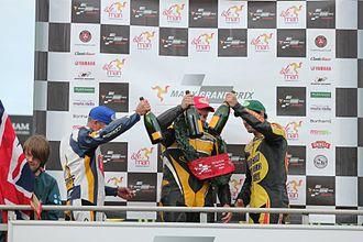 2011 Manx Grand Prix - 2011 Senior MGP podium - (From left to right) Grant Wagstaff, Andrew Brady, Dan Sayle.