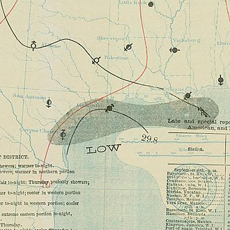1898 Atlantic hurricane season - Image: September 28, 1898 tropical storm 6 map