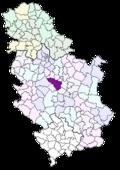 Location of Kragujevac within Serbia