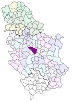 Location of Kragujevac within Serbia